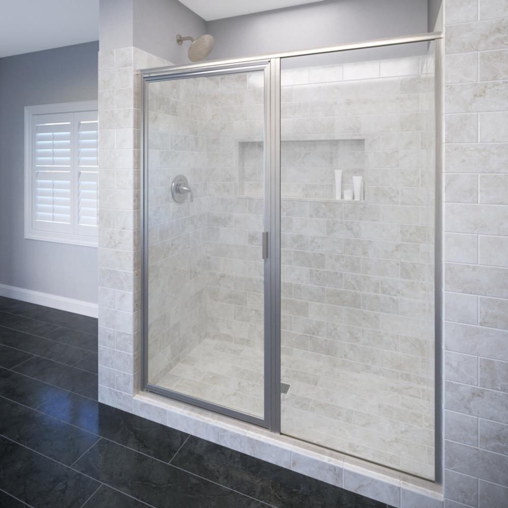 Basco Deluxe 47 in. x 68-5/8 in. Framed Pivot Shower Door in Brushed ...