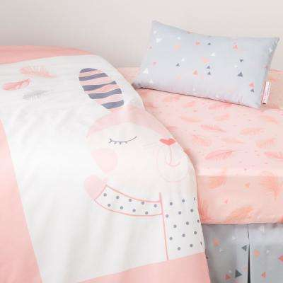 DreamIt 3-Piece Pink Doudou the Rabbit Baby Crib Bed Set and Pillow