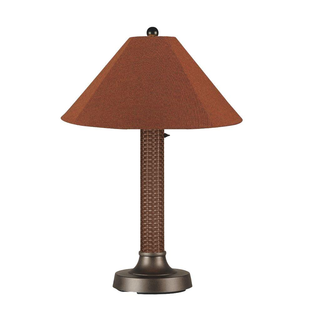 Patio Living Concepts Bahama Weave 34 in. Red Castagno Outdoor Table Lamp with Chile Linen Shade