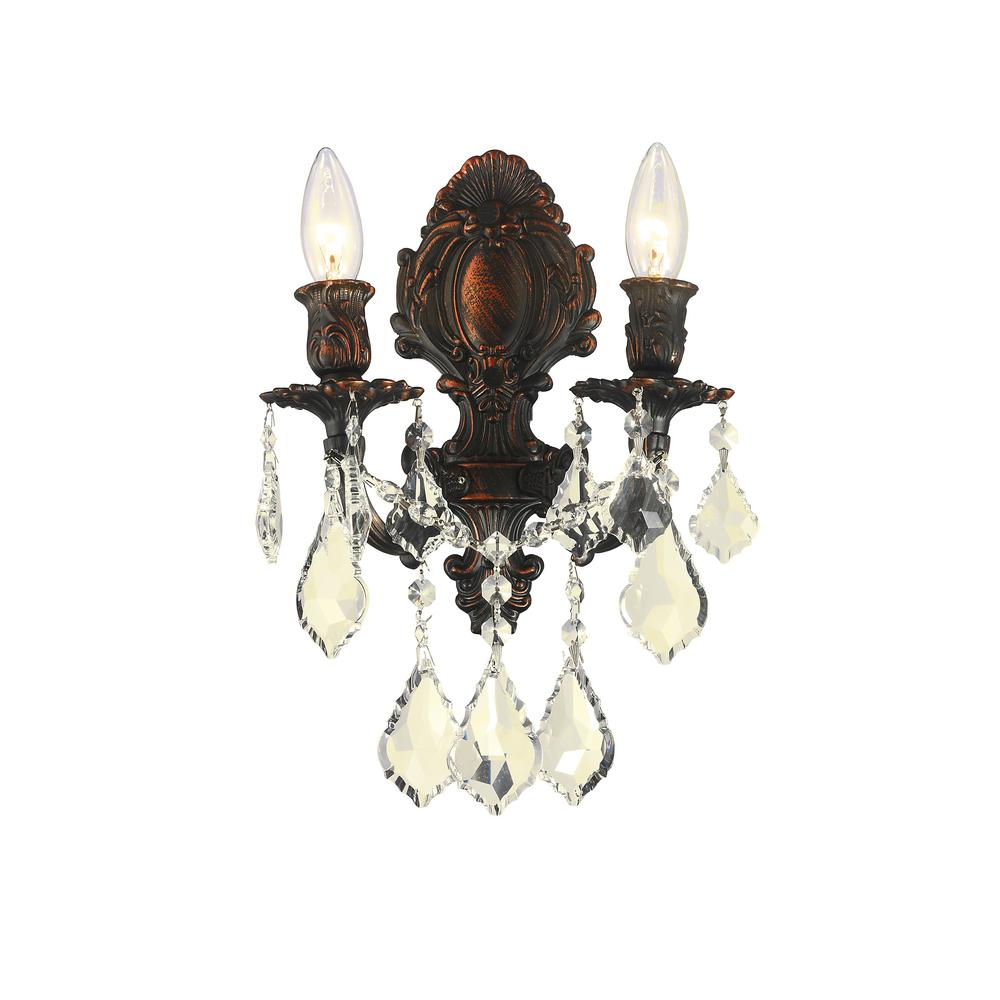 Worldwide lighting versailles collection 2 light flemish brass and worldwide lighting versailles collection 2 light flemish brass and golden teak crystal candle wall sconce w23313f12 gt the home depot amipublicfo Gallery