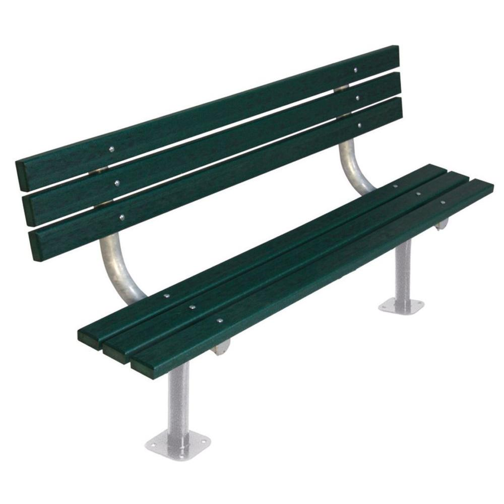 Ultra Play 6 ft. Green Commercial Park Recycled Plastic Bench with Back Surface Mount