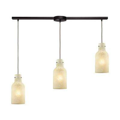 Weatherly 3-Light Linear Bar in Oil Rubbed Bronze with Chalky Beige Glass Pendant
