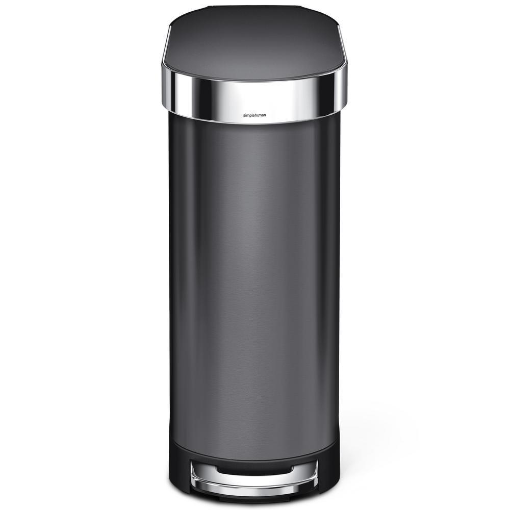 simplehuman 12 Gal. Slim Step Trash Can in Black Stainless Steel