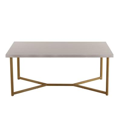 Beige Wood Top Modern Coffee Table with Golden Legs