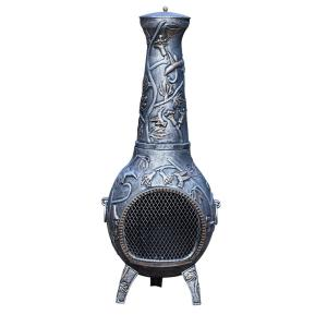 Hummingbird Cast Metal 53 inch Tall Chimenea with Built-in Handles, Log Grate,...