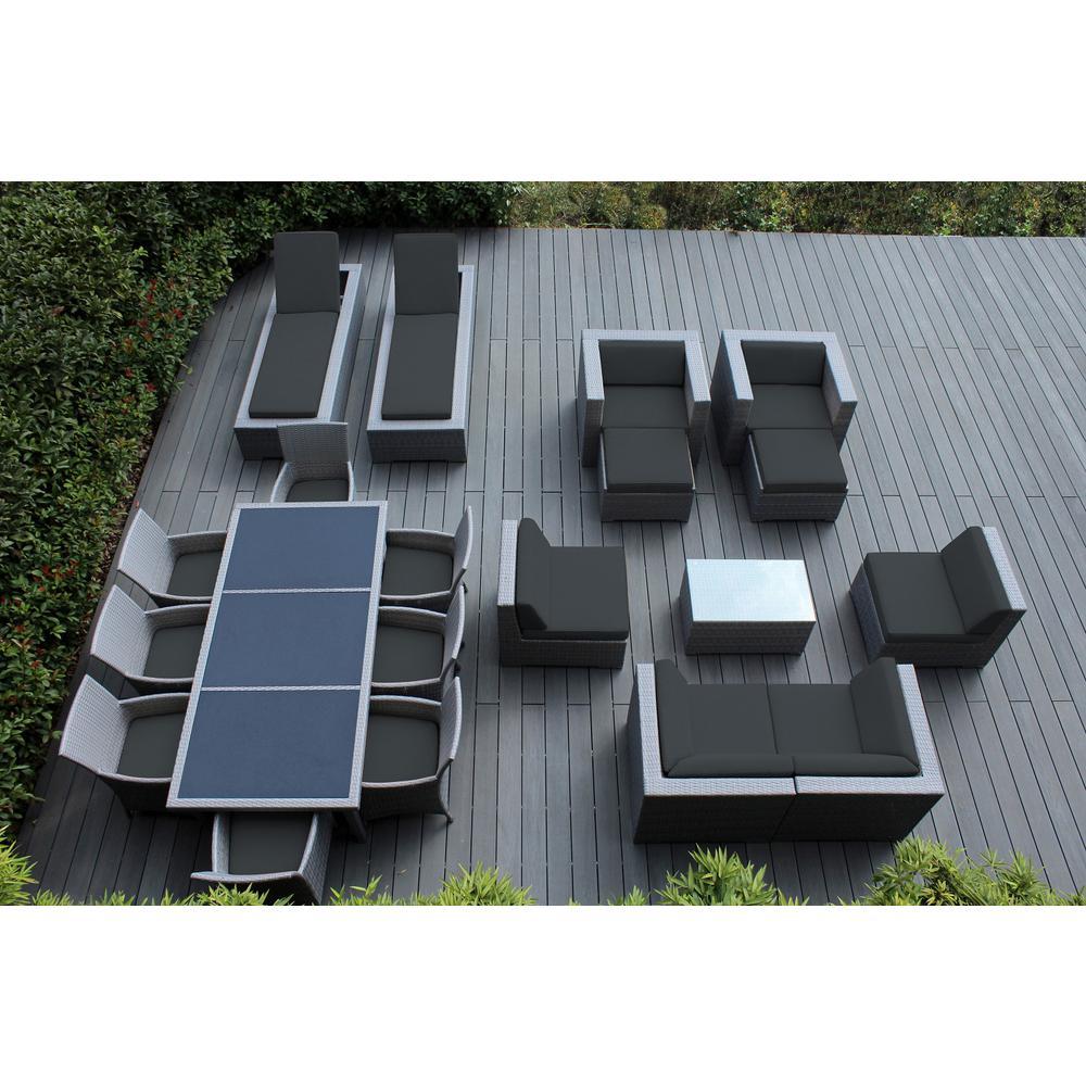 Gray 20-Piece Wicker Patio Combo Conversation Set with Sunbrella Coal Cushions