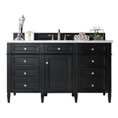 Brittany 60 in. W Single Vanity in Black Onyx with Soild Surface Vanity Top in Arctic Fall with White Basin