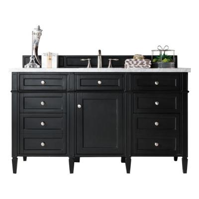 Brittany 60 in. W Single Bath Vanity in Black Onyx with Soild Surface Vanity Top in Arctic Fall with White Basin