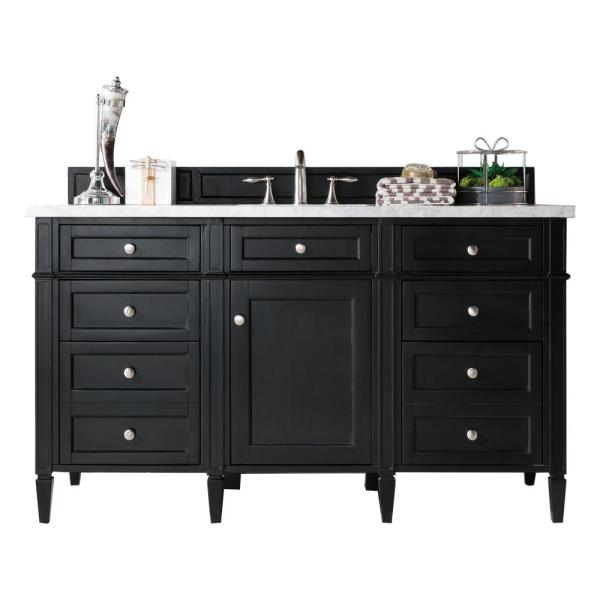 James Martin Vanities Brittany 60 In. W Single Bath Vanity In Black Onyx  With Soild Surface Vanity Top In Arctic Fall With White Basin-650V60SBKO3AF  - The Home Depot