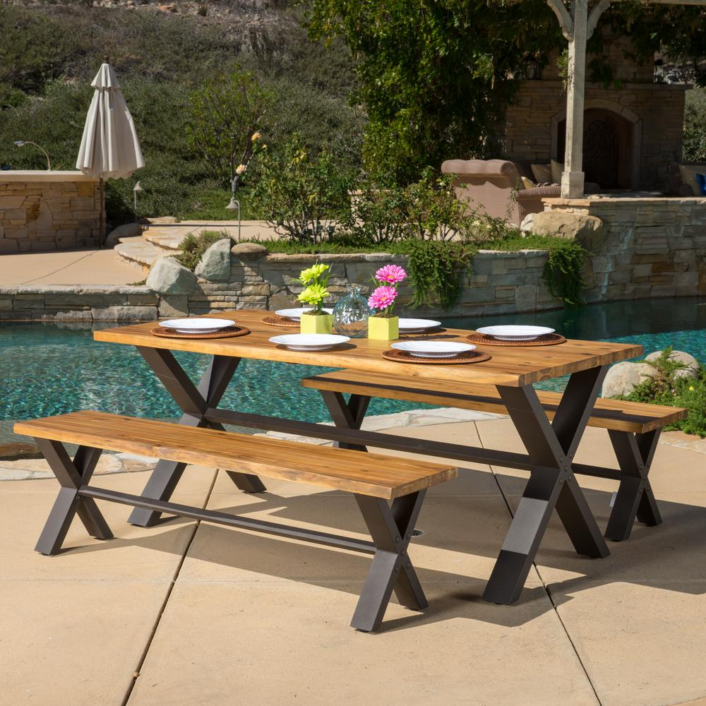 Sanibel teak finish with rustic metal 3 piece wood outdoor dining set