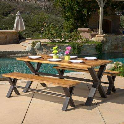 Sanibel Teak Finish with Rustic Metal 3-Piece Wood Outdoor Dining Set