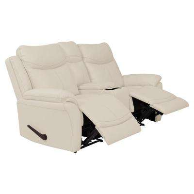 Off-White Almond Tuff Stuff Fabric 2-Seat Wall Hugger Recliner Loveseat with Power Storage Console
