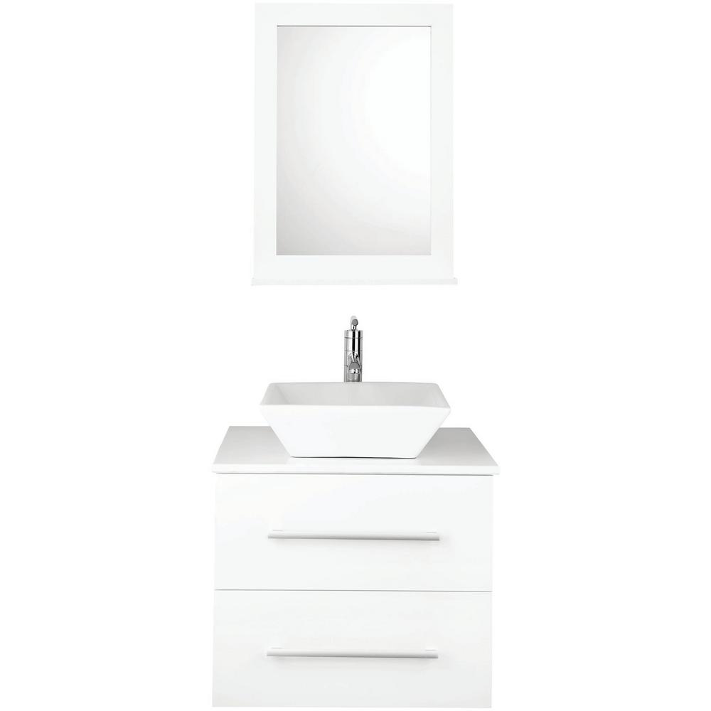 4 Piece PVC Floating Vanity Set With Ceramic Vessel, Vanity Base, Mirror  And Wall Cabinet White