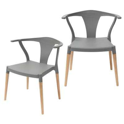 Icon Series Gray Modern Accent Dining Arm Chair with Beech Wood Legs (Set of 2)