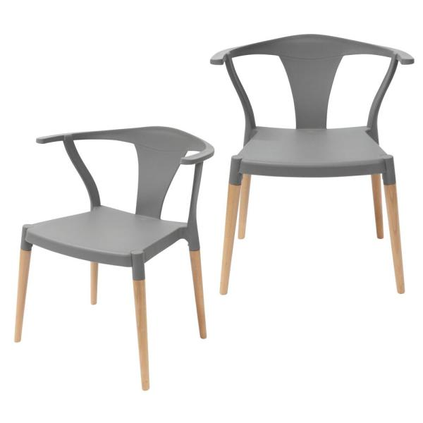 CozyBlock Icon Series Gray Modern Accent Dining Arm Chair with Beech