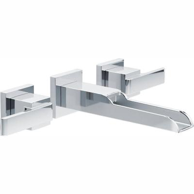 Ara 2-Handle Wall Mount Bathroom Faucet Trim Kit in Chrome with Open Channel Spout (Valve Not Included)