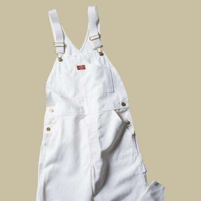 Relaxed Fit 30-32 White Painters Bib Overall