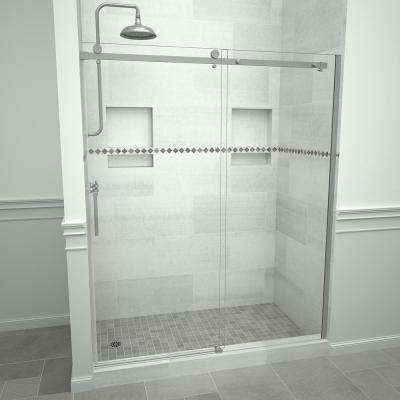 Redi Slide 5300 59 in. W x 76 in. H Semi-Frameless Sliding Shower Door in Brushed Nickel with Handle