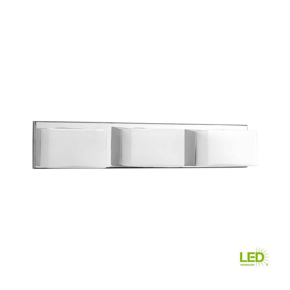 led bathroom vanity lights 48 inch progress lighting ace collection 3light polished chrome integrated led bathroom vanity light with glass
