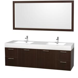 Wyndham Collection Amare 72 inch Double Vanity in Espresso with Acrylic-Resin Vanity Top in White and Integrated Sink by Wyndham Collection