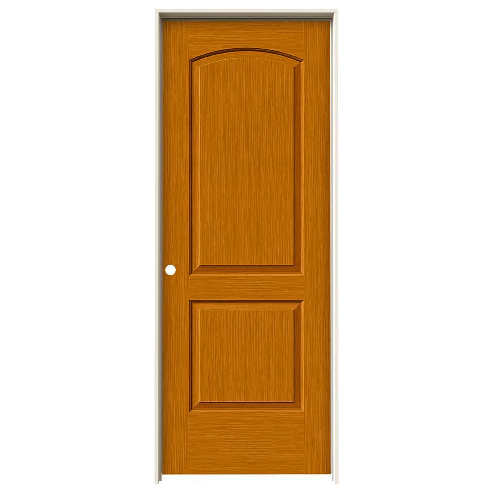 Jeld Wen 32 In X 80 In Hardwood Unfinished Flush Solid: JELD-WEN 32 In. X 80 In. Continental Saffron Stain Right