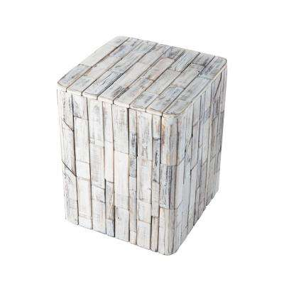Elyse Burning White Wood Garden Stool