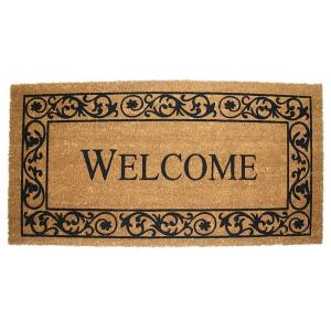 J & M Home Fashions Wrought Iron Welcome 21 inch x 41 inch Vinyl Back Coco Door Mat by J & M Home Fashions