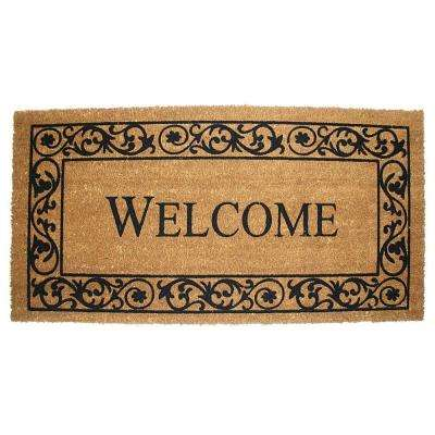 Wrought Iron Welcome 21 in. x 41 in. Vinyl Back Coco Door Mat