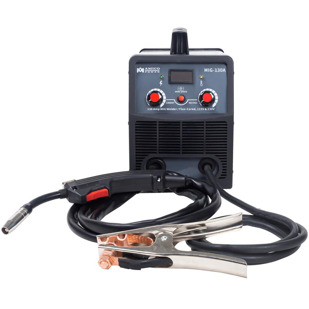130 Amp MIG Wire Feeder Flux Cored Wire Gasless Welder, 115-Volt and 230-Volt IGBT Inverter Welding, 80% Duty Cycle