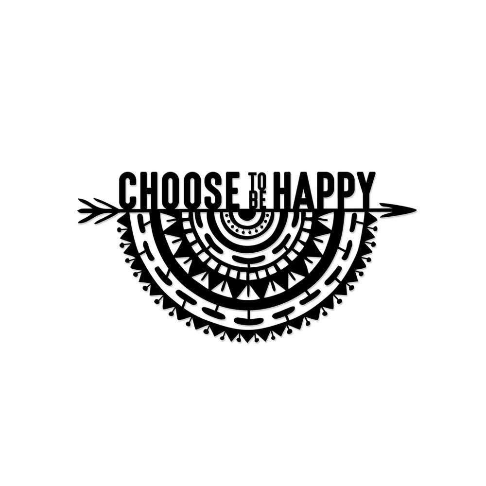 Happy Arrow Black Modern Metal Wall Art
