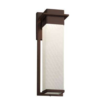 Fusion Pacific Large Dark Bronze LED Outdoor Wall Sconce with Weave Shade