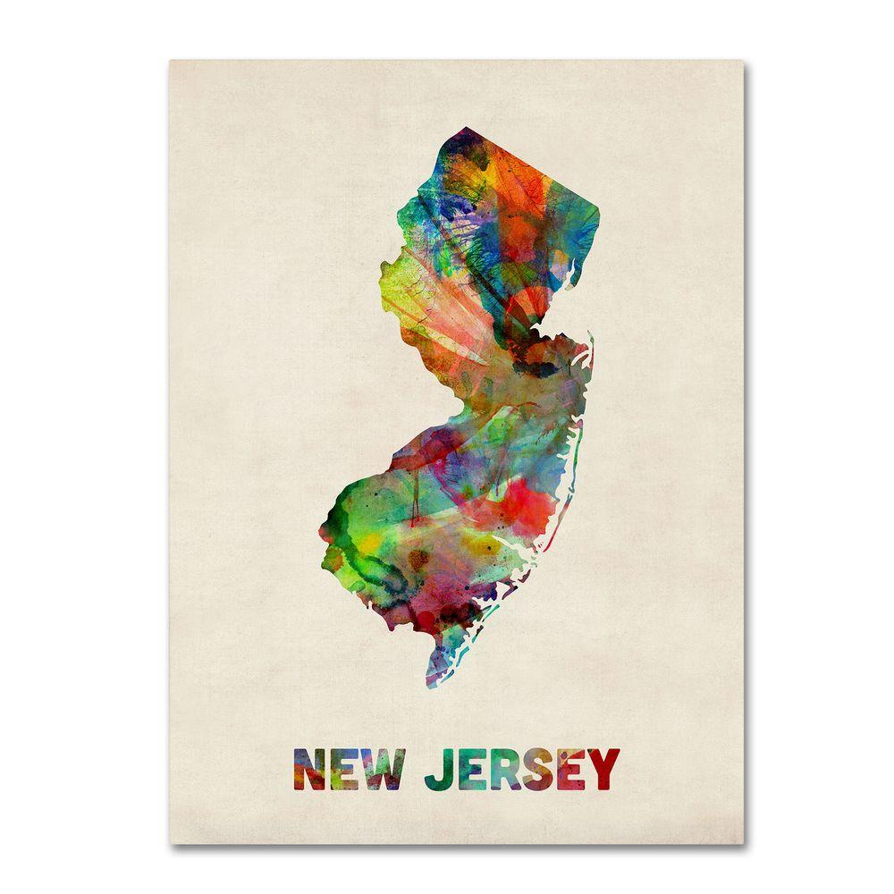 18 in. x 24 in. New Jersey Map Canvas Art