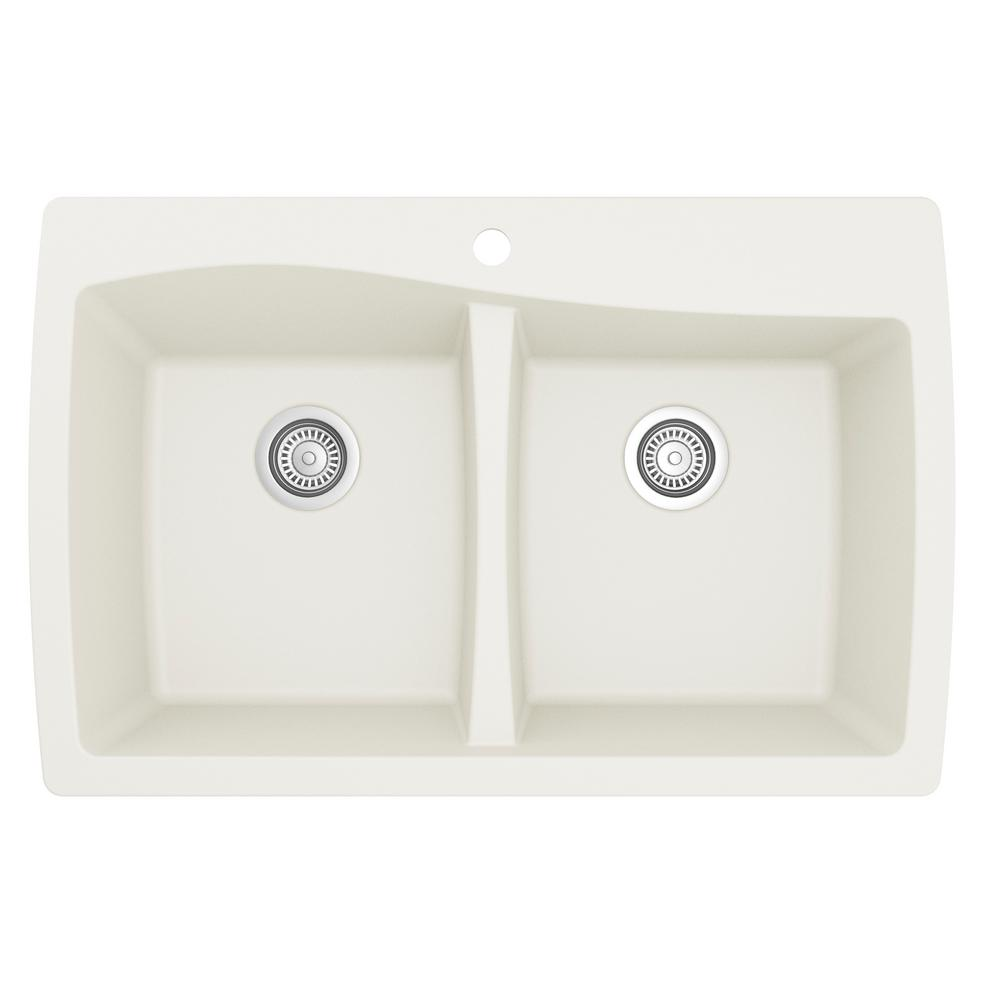 Karran Drop-In Quartz Composite 34 in. 1-Hole 50/50 Double Bowl Kitchen Sink in White