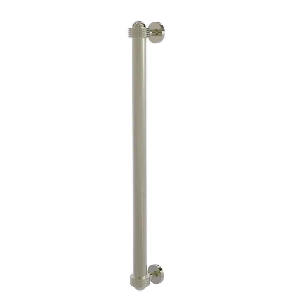 Allied Brass 18 in. Center-to-Center Refrigerator Pull with Groovy Aents in Polished Nickel Transform your kitchen with this elegant Refrigerator and Appliance Pull. This pull is designed for replacing the pulls or handles on your built-in refrigerator, freezer or any other built in appliance. Appliance pull is made of solid brass and provided with a lifetime finish to insure products will provide a lifetime of service.