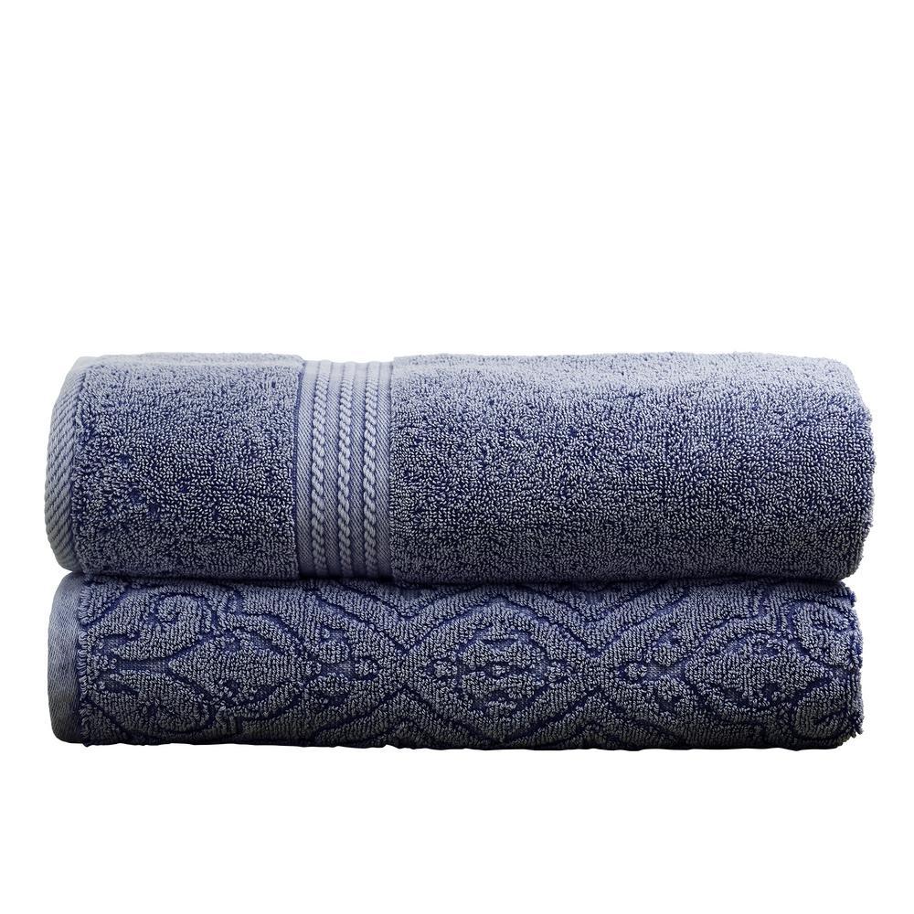 Allure Lifestyle Amrapur 2-Pack Cotton Bath Towel Set in Denim