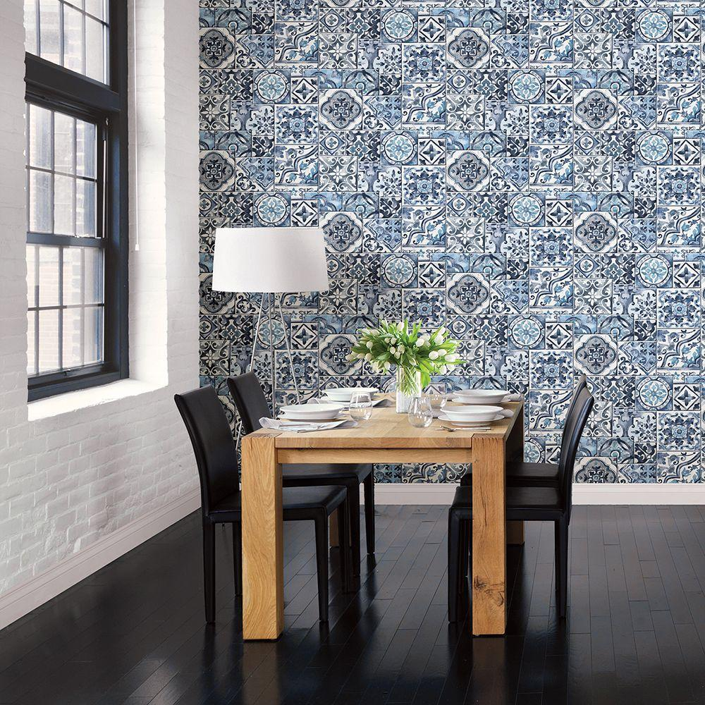 Brewster blue marrakesh tiles mosaic wallpaper 2701 22316 for Trend tapeten wohnzimmer