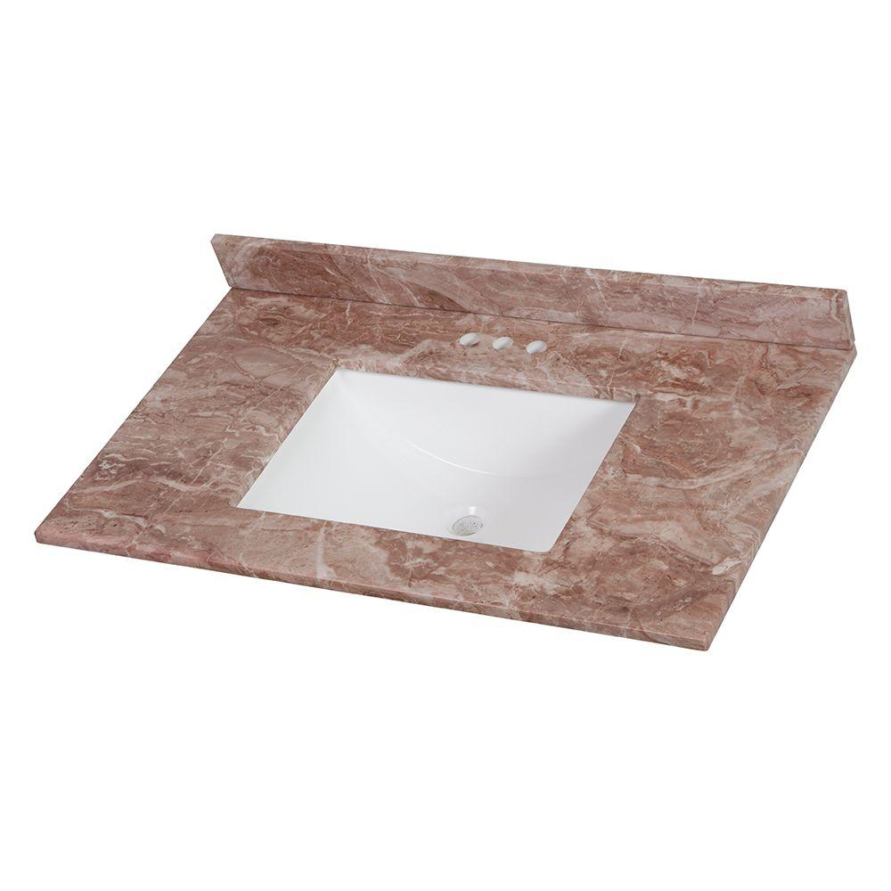 37 in. Stone Effects Vanity Top in Mayan Ivory with White