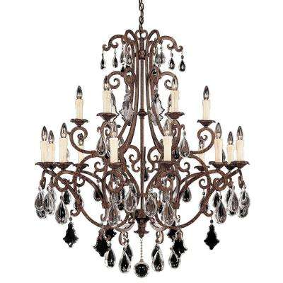 18-Light Chandelier New Tortoise Shell Finish Full Cut Clear Crystals