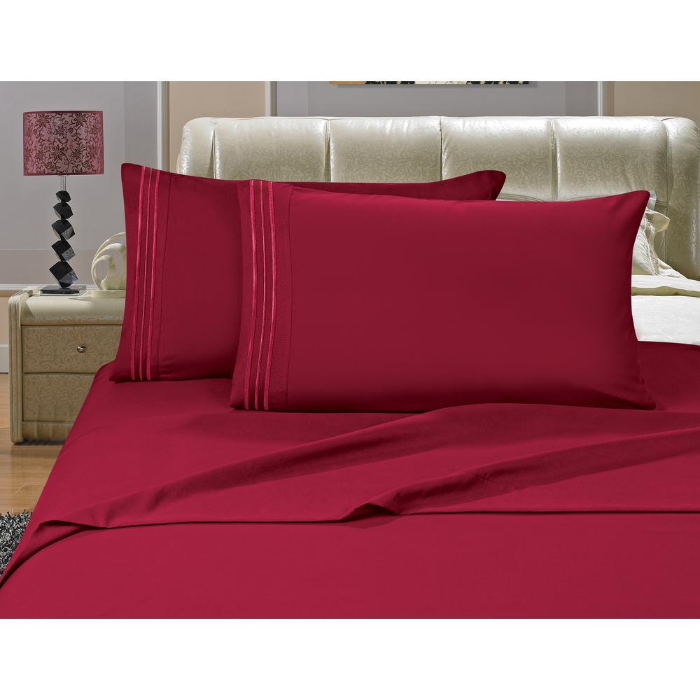 1500 Series 4-Piece Burgundy Triple Marrow Embroidered Pillowcases Microfiber King - Split Size Bed Sheet Set