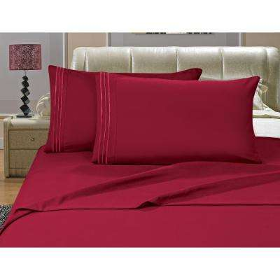 1500 Series 4-Piece Burgundy Triple Marrow Embroidered Pillowcases Microfiber Queen Size Bed Sheet Set