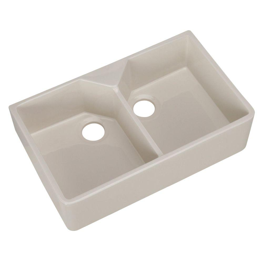 Pegasus farmhouse apron front fireclay 32 in 1 hole double bowl kitchen sink in bisque fs31 bq - Bq kitchen sinks ...