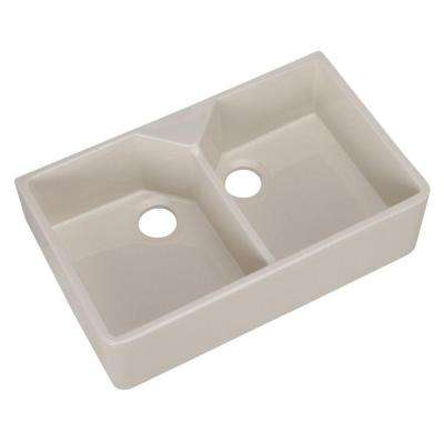 Farmhouse Apron Front Fireclay 32 in. 1-Hole Double Bowl Kitchen Sink in Bisque