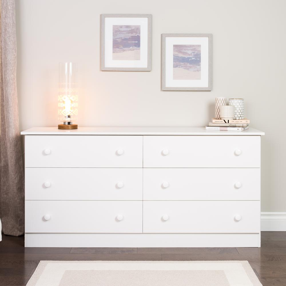 Prepac Edenvale 6 Drawer White Dresser Whd 5828 6k The