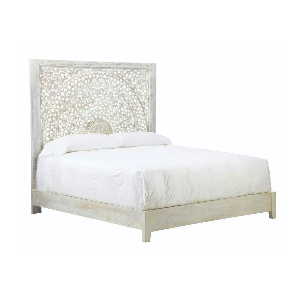 bed headboard platform solid mango wood white home bedroom. Black Bedroom Furniture Sets. Home Design Ideas