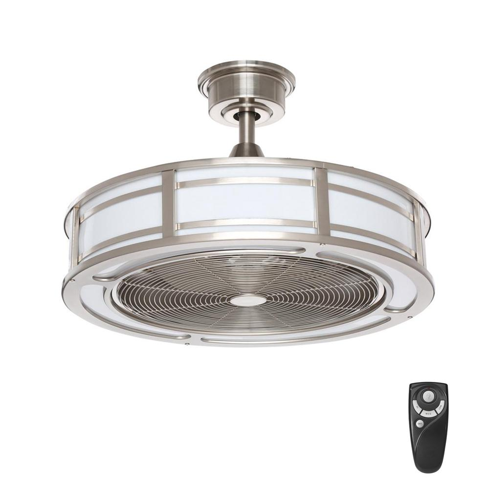 Home Decorators Collection Brette 23 In. LED Indoor/Outdoor Brushed Nickel Ceiling  Fan With