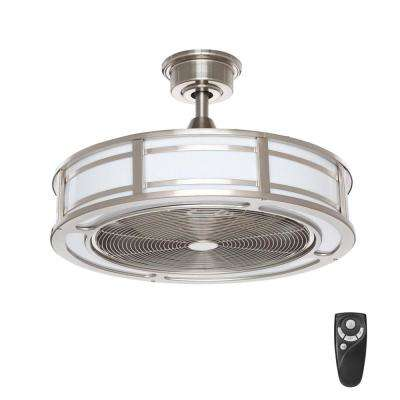 Led indoor outdoor brushed nickel ceiling fan with light kit with