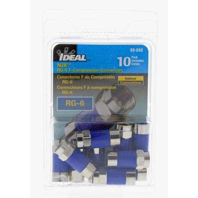 RG6 F NJX Compression Connector, Blue (Standard Package, 3 Packs of 10)