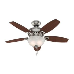 Hunter Holden 44 inch Indoor Brushed Nickel Ceiling Fan with Light Kit by Hunter