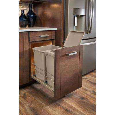 18.9375 in. H x 14.375 in. W x 22.25 in. D Double 35 Qt. Pull-Out Champagne Waste Container with Soft-Close Slides