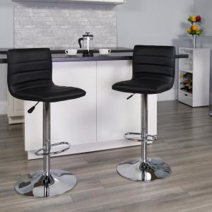 Terrific Flash Furniture Adjustable Height Black Cushioned Bar Stool Bralicious Painted Fabric Chair Ideas Braliciousco